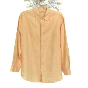 Caribbean men's light orange linen shirt XL